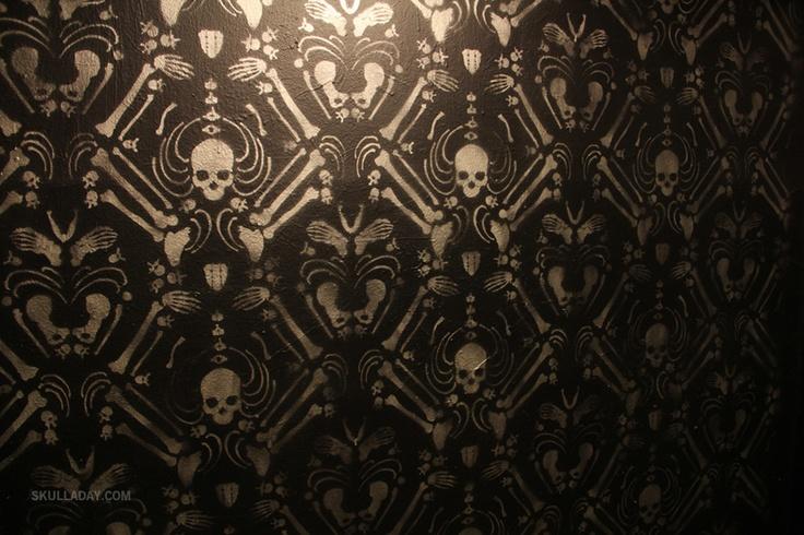 Skeleton Damask stencil wallpaper installation by Skull-A-Day's Noah Scalin.