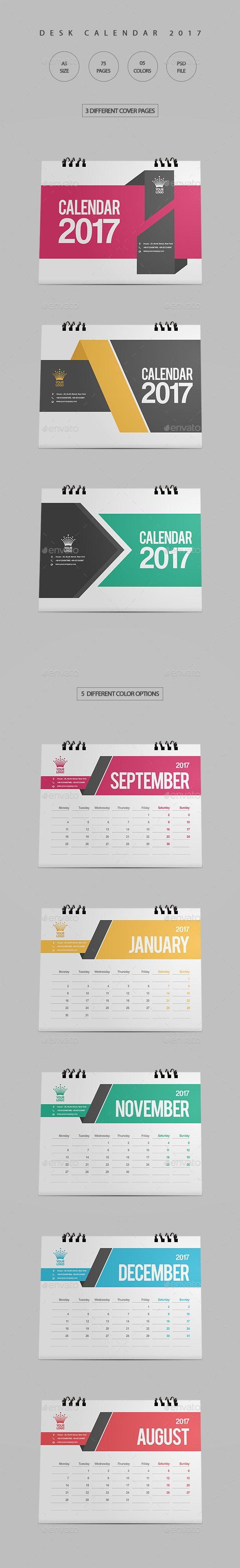 Clean Desk Calendar 2017 — Photoshop PSD #design #calendar • Download ➝ https://graphicriver.net/item/clean-desk-calendar-2017/18807129?ref=pxcr