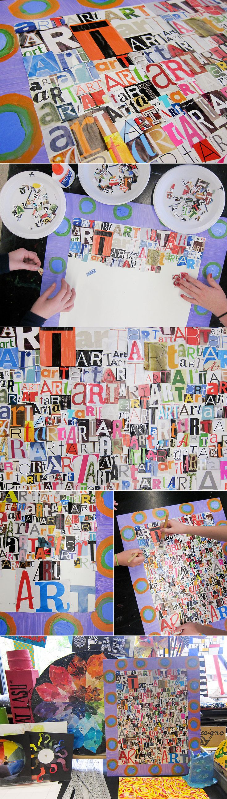 free time activity...have students who finish early hunt through magazines for the letters A-R-T.  Collaborative art for the classroom.  Great Idea Frecklephotoblog!