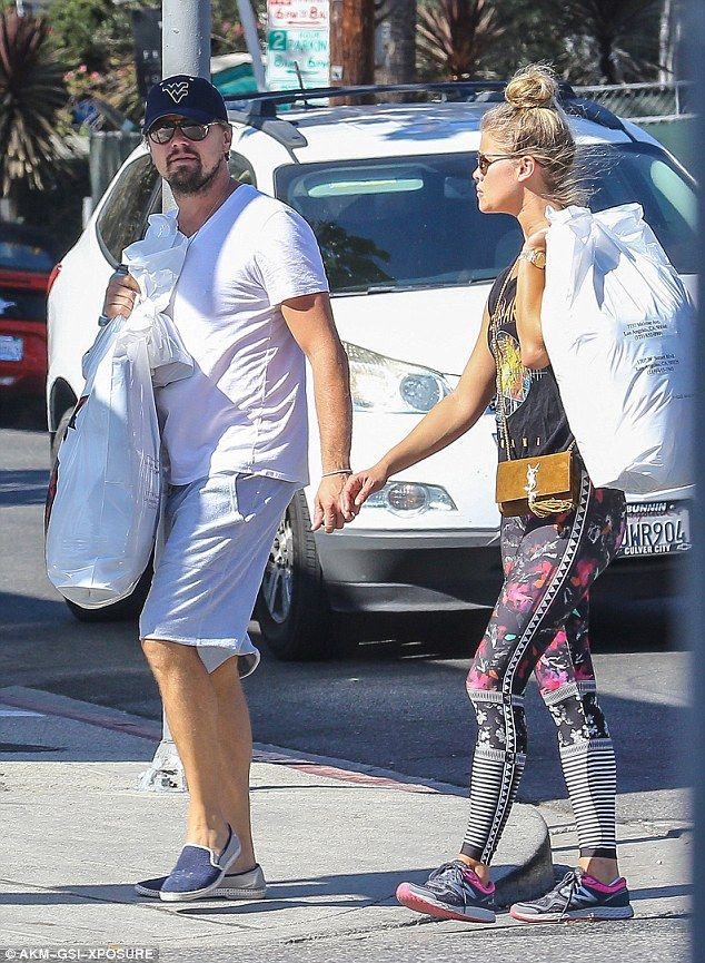 Laid-back look: Nina Agdal, 24, was enjoying a casual date with her boyfriend Leonardo DiCaprio, 41, in Beverly Hills on Wednesday, romantically holding hands
