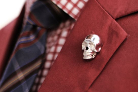 Mens Fashion - Red blazer, tartan tie, check shirt, skull lapel pin
