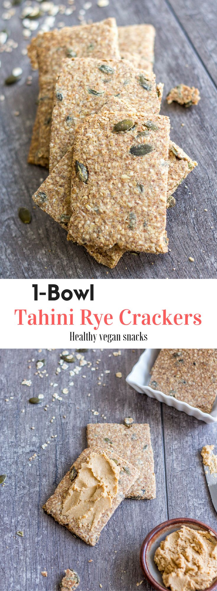 1-Bowl Tahini Rye Crackers made from rye flour, oats, seeds, and tahini. They're easy, quick, healthy, and tasty. A great vegan snack! Healthy vegan recipes | healthy  | vegan | snack | dessert | recipes | vegetarian | The Mostly Healthy