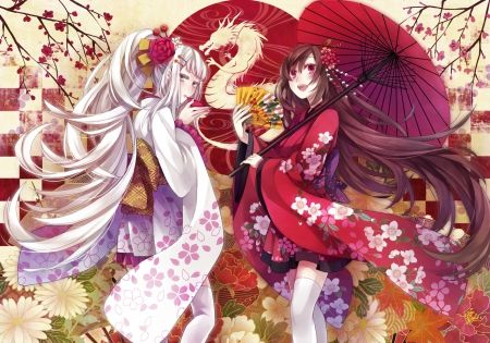 dragons with umbrellas red dragon girl flower geisha