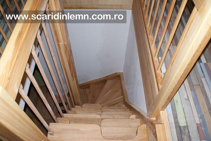 scara interioara economica lemn masiv preturi scara cu vang si trepte cu pas combinat