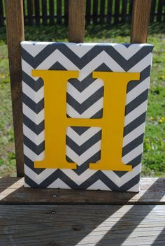 "Personalized Grey Chevron With Yellow Initial Canvas Wall Art 11""x14"" Customized Boys And Girls Room Decor"