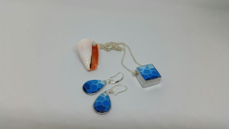 Polymer clay pendant and earrings.