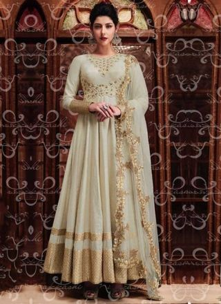 Off White Embroidery Work Silk Net Santoon Designer Anarkali Fancy Wedding Suit http://www.angelnx.com/Salwar-Kameez/Anarkali-Suits