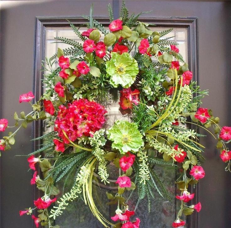 Spring wreath summer woodsy floral door arrangement red Spring flower arrangements for front door