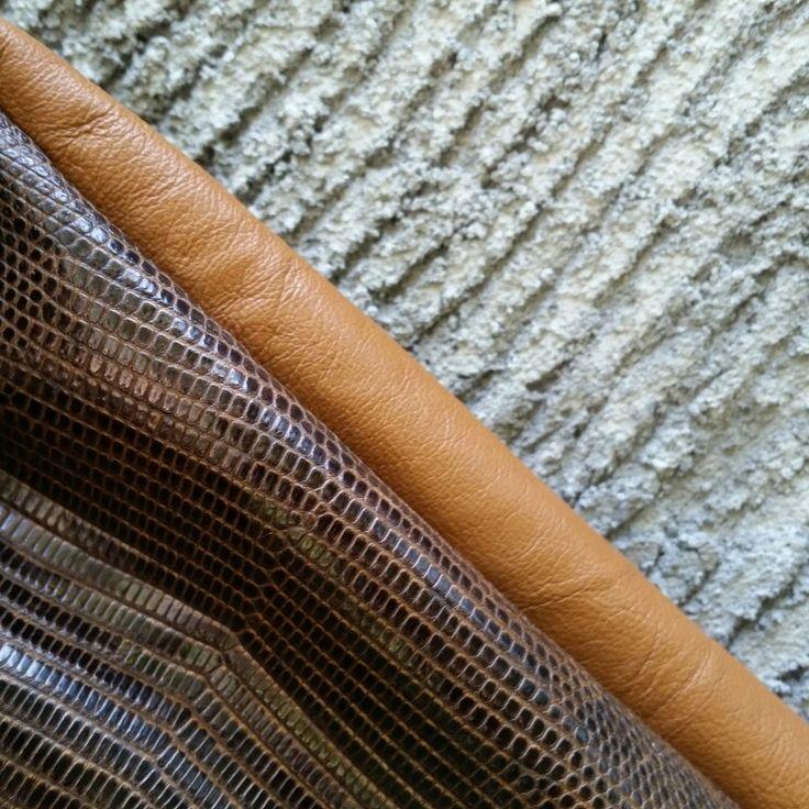 Brown lizard varan handmade style leather