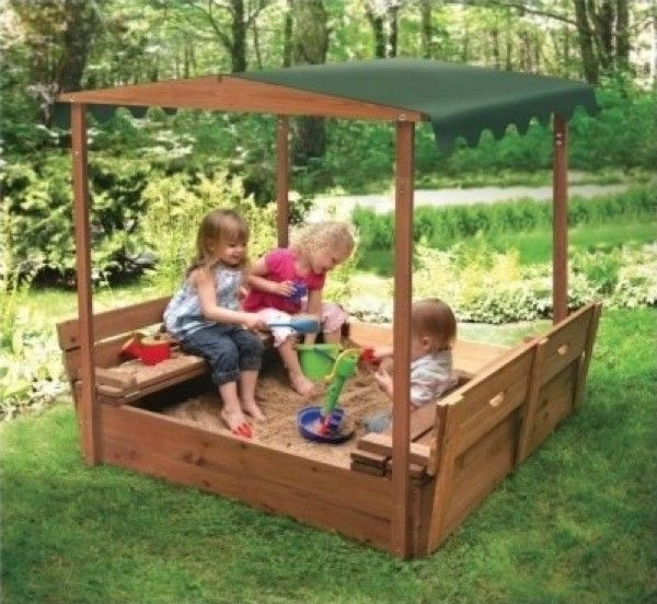 Backyard Sandbox : Outdoor Covered Playset Childrens Sandbox Bench Seats Canopy Shade
