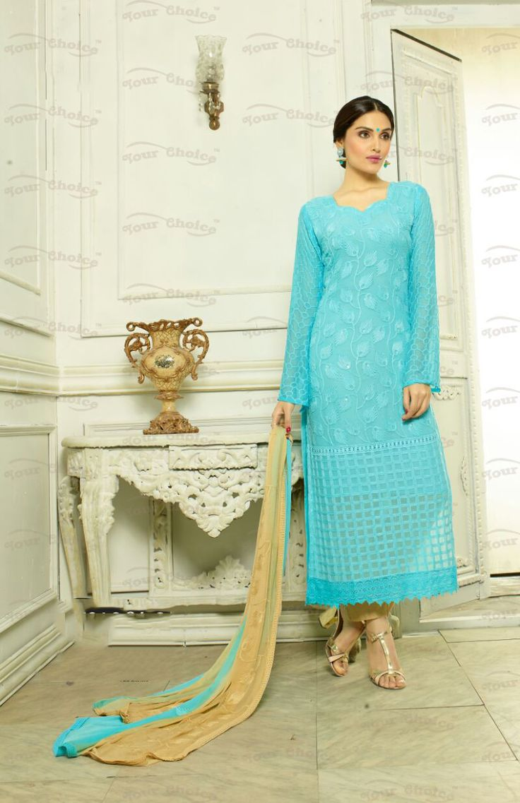Designer Embroidery Long Salwar Suit Collection - Ready To Stitch Material / Blue And Golden Heavy Lace And Embroidery Work Straight Cut Long Salwar Suits For Party / Wedding / Special Occasions - Ready to Stitch