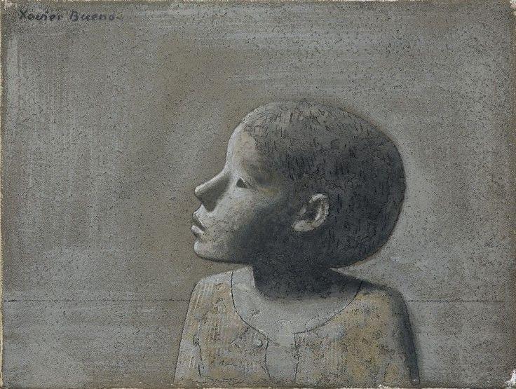 Xavier Bueno - Bambino di profilo - Olio e tecnica mista su tela - cm. 30,5x40