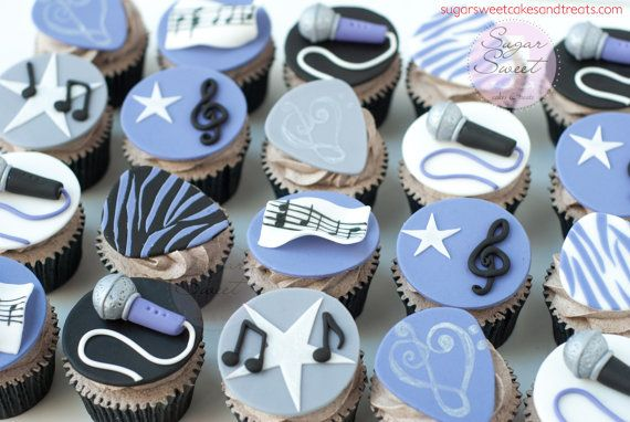 12 Music Themed Cupcake Toppers Guitar by ShopSugarSweet on Etsy