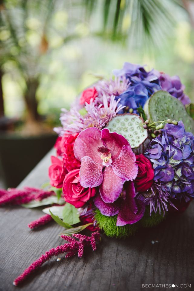 Orchids, seedpods, purple and magenta wedding bouquet. Flowers by North St Botanical, Melbourne. Photography by www.becmatheson.com
