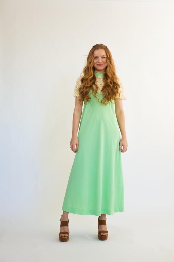 70s GREEN dress vintage BOHO dress short sleeve maxi lace SEVENTIES prom bridesmaid puff sleeve bohemian tie waist dress mock neck dres 3
