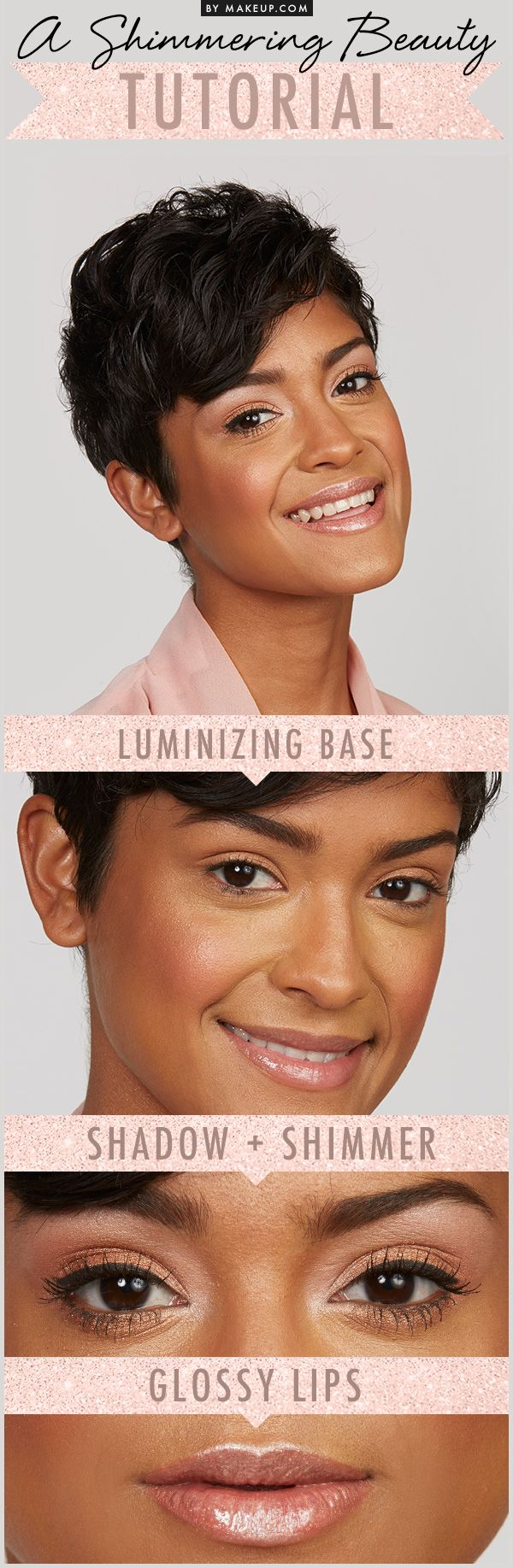 Adding a little shimmer is EASY! These makeup tips will add some shimmer to your skin, eyes and lips and you'll be glowing in no time. See how to get this glamorous look here!