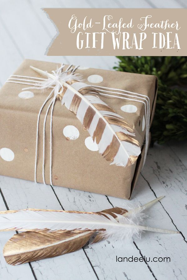 Gold Leafed Feather Gift Wrap Idea 15