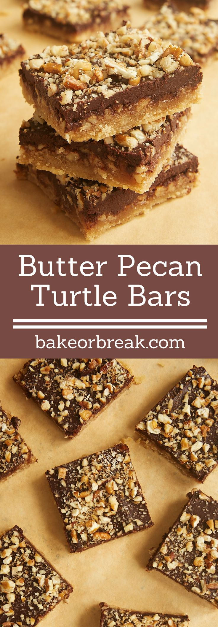 Butter Pecan Turtle Bars have so many delicious layers - shortbread, caramel, pecans, and chocolate. 100% irresistible! - Bake or Break ~ http://www.bakeorbreak.com