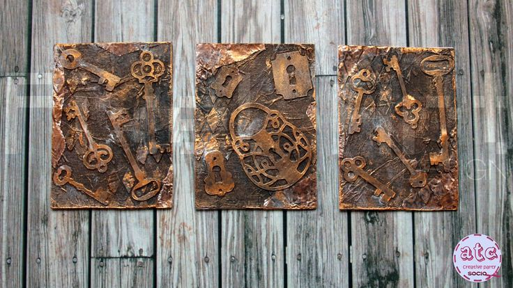 Old Keys - Mixed Media ATC series - Artist Trading Cards (start to finis...