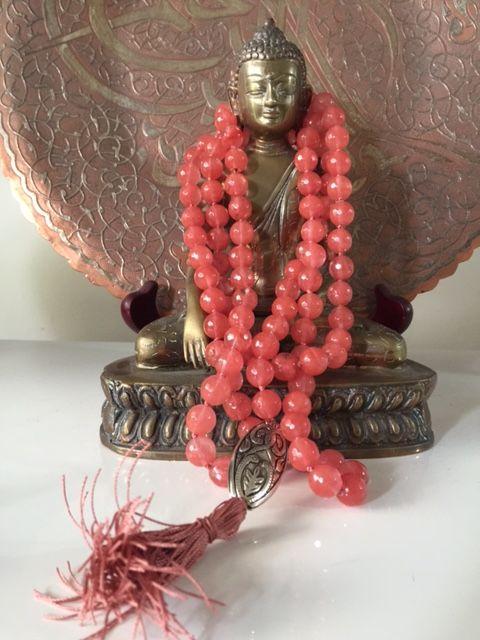 SAlly McBride Design ROSE QUARTZ Mala 108 beads 6mm diameter with silver guru bead and tassel