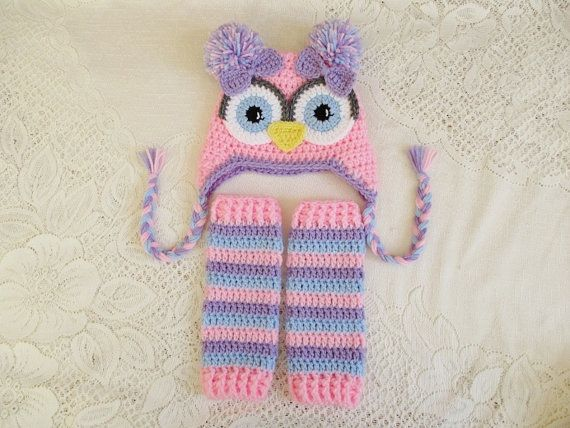 Baby Pink Lilac & Baby Blue Crochet Owl Hat and Leg Warmers