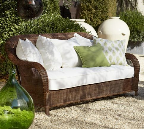 Palmetto All Weather Wicker Sofa   Honey | Pottery Barn