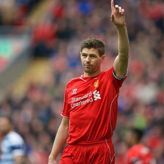 @stevengerrard during the match today at Anfield #LFC