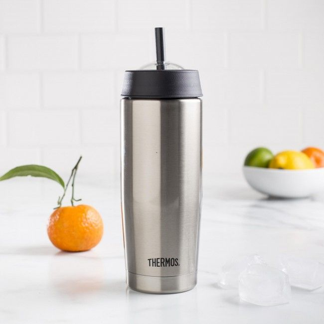 The Thermos Cold Cup Smoothie Bottle is vacuum insulated for maximum temperature retention, it keeps beverages cold up to 9 hours. The bottle is made from a BPA-free, durable stainless steel interior and exterior. The removable and easy to clean straw fits nicely into a convenient clear dome lid. The Cold Cup is great for smoothies, cold juices, iced teas and iced coffee. The sweat-proof design won't leave unwanted water rings.