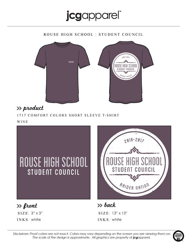 JCG Apparel : Custom Printed Apparel : Rouse High School Student Council T-Shirt #rousehighschool #studentcouncil