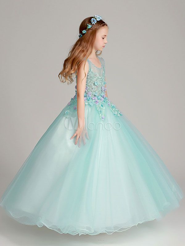 c5402dadfbbd Flower Girl Dresses Princess Floor Length Organza Mint Green Kids Pageant  Dresses  Princess