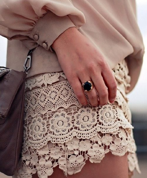 lace...Fashion, Blouse, Vintage Lace, Crochet Shorts, Dresses, Cute Summer Outfit, Lace Shorts, Summer Clothing, Lace Skirts