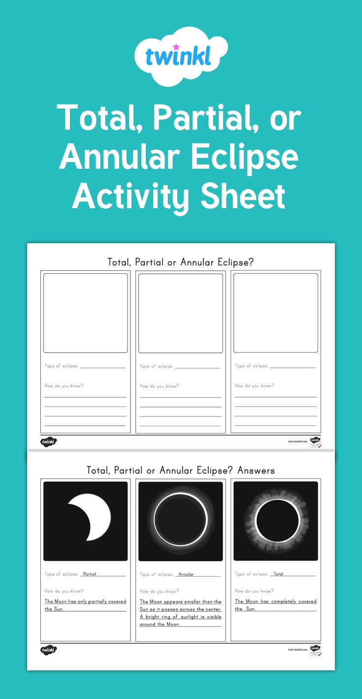 A useful activity sheet to check students knowledge of the three types of solar eclipses.