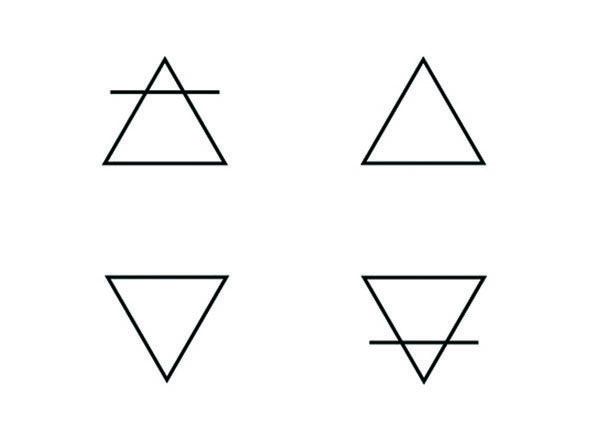 Alchemy Symbols Air Water Fire Earth Triangle Tattoos