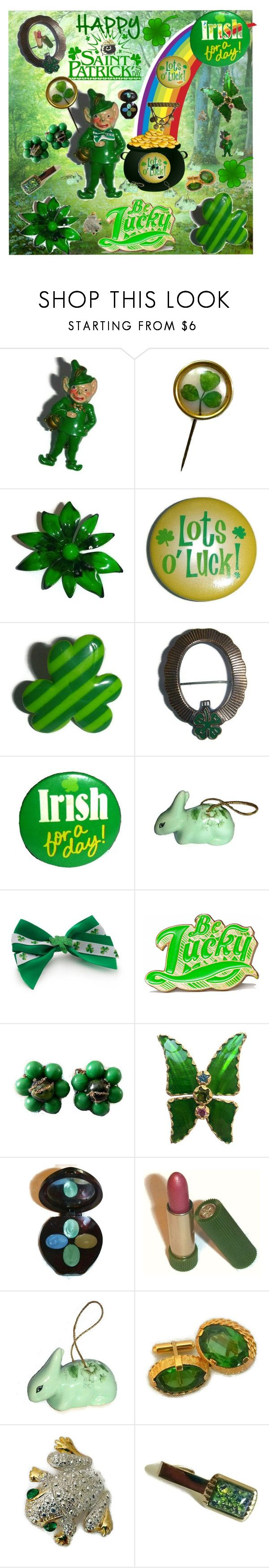 Happy St. Patrick's Day ~ Vintage Style! by popcornvintagebytann on Polyvore featuring Marby & Elm, Yves Saint Laurent, Napier, Red Camel, Avon, DEPT and vintage