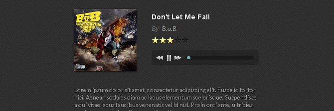 Really nice HTML5 music player, complete with playlist support, rating support and buy links. Works beautifully, and easy to customise.