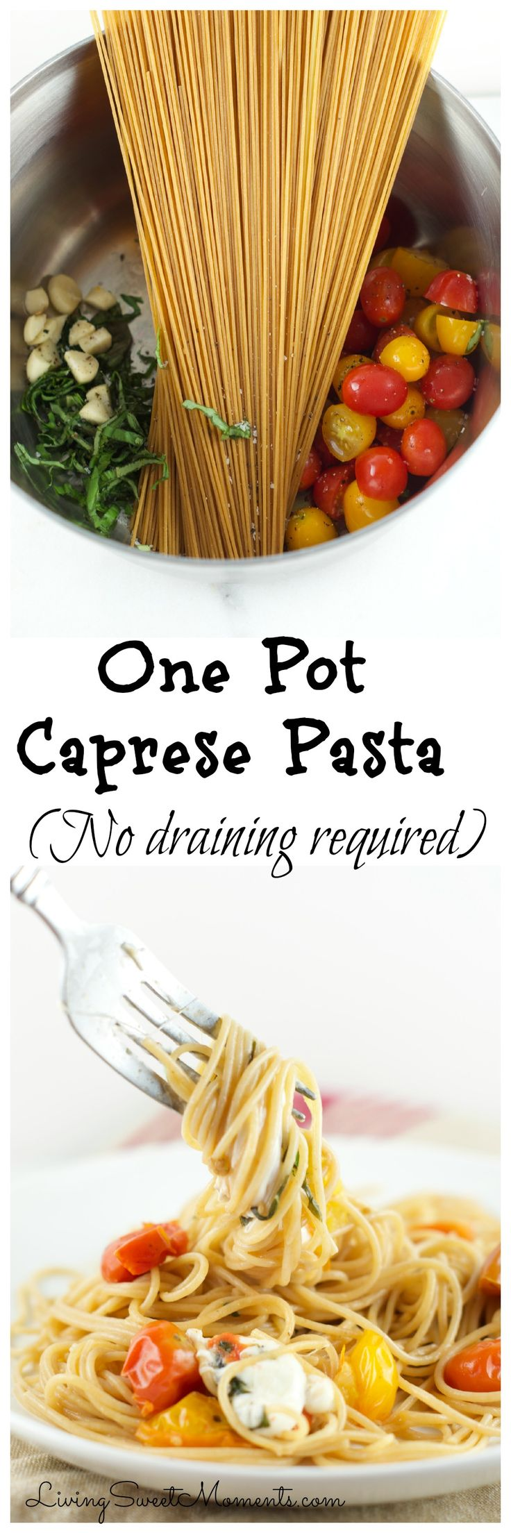 This delicious One Pot Caprese Pasta Recipe is made in 10 minutes and requires absolutely no draining. It's the perfect easy weeknight dinner idea and great for entertaining as well!