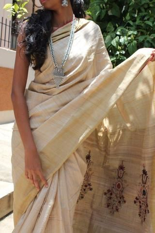 Off-White Muga Tussar Silk Saree with Hand Work