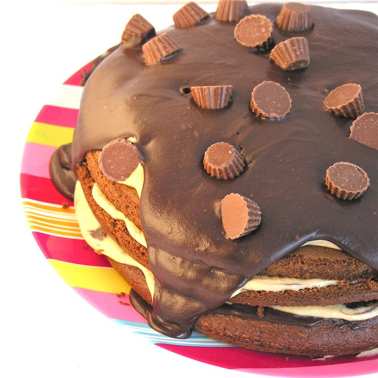 Chocolate peanut butter cup layer cake!