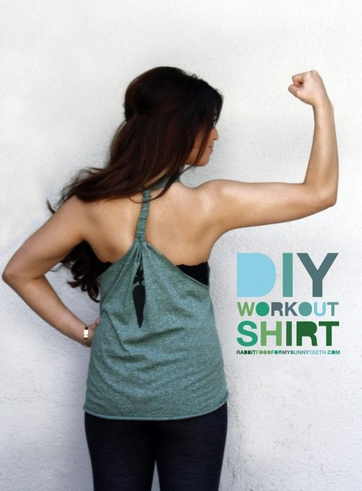 DIY Workout Top: Diy Tank, Idea, Workout Shirts, Diy Workout, Work Outs, Old Shirts, Tanks Tops, Tshirt, Workout Tanks