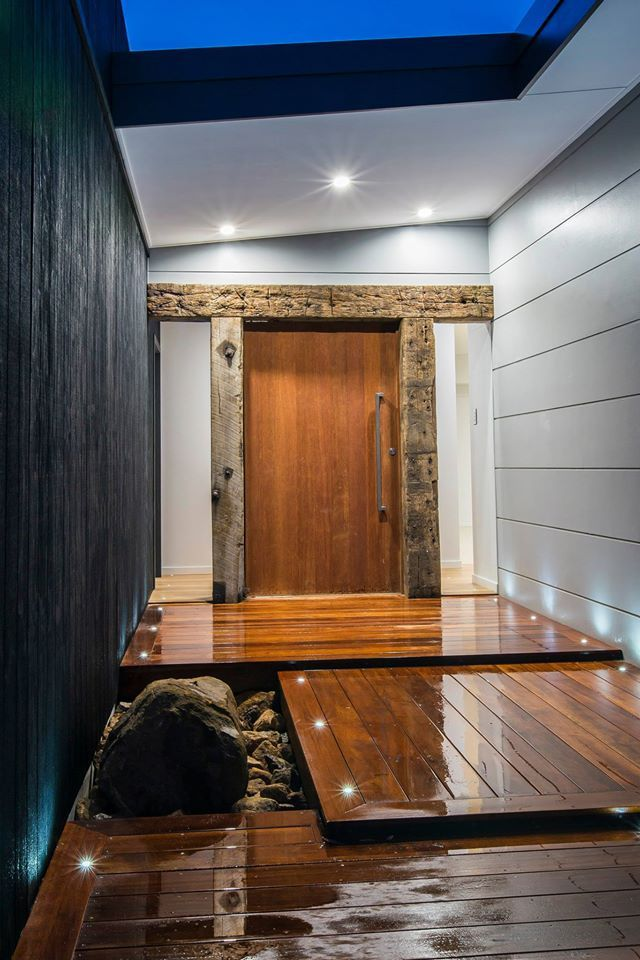 The mixture of textures here makes for a sleek stylish entrance to this stunning home featuring Scyon Stria. See more design ideas here: http://scyon.com.au/designideas