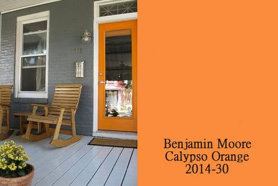 Colorful Designer Front Doors and Paint Samples - Simplified Bee  benjamin moore calypso orange