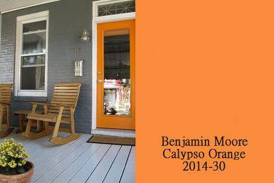 orange door with gray paint