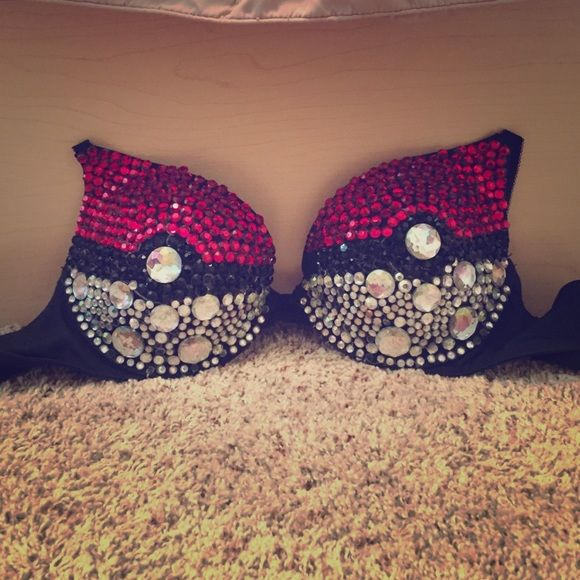 Pokeball Diamond Bra 34B-34C Handmade and used only 2 times, garnished with 700+ crystals and fits a 34B-34 C depending on how you set the straps. Missing a few black diamonds on inner side, not noticeable though. Slight push up, and is beautiful ❤️ will include pikachu ears and tail if purchased between Dec. 9-11 Intimates & Sleepwear Bras