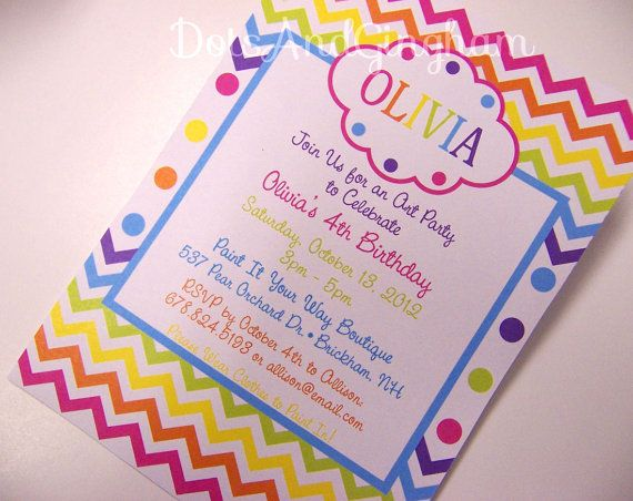 Rainbow Chevron Invitation  Rainbow Party  by DotsAndGingham