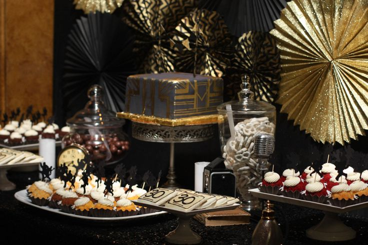 What a trendy dessert table perfect for a 1920 39 s party for 1920 decoration ideas