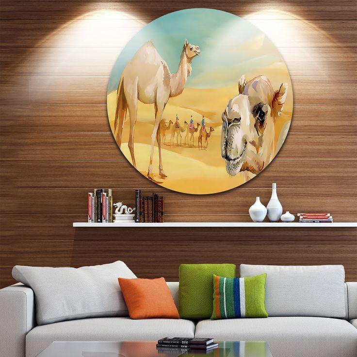 Designart 'Wandering Camels in Desert' Watercolor Animal Disc Metal Wall art