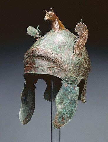 Bronze Helmet -- Greek, South Italy -- 350-300 BCE -- The Getty Museum