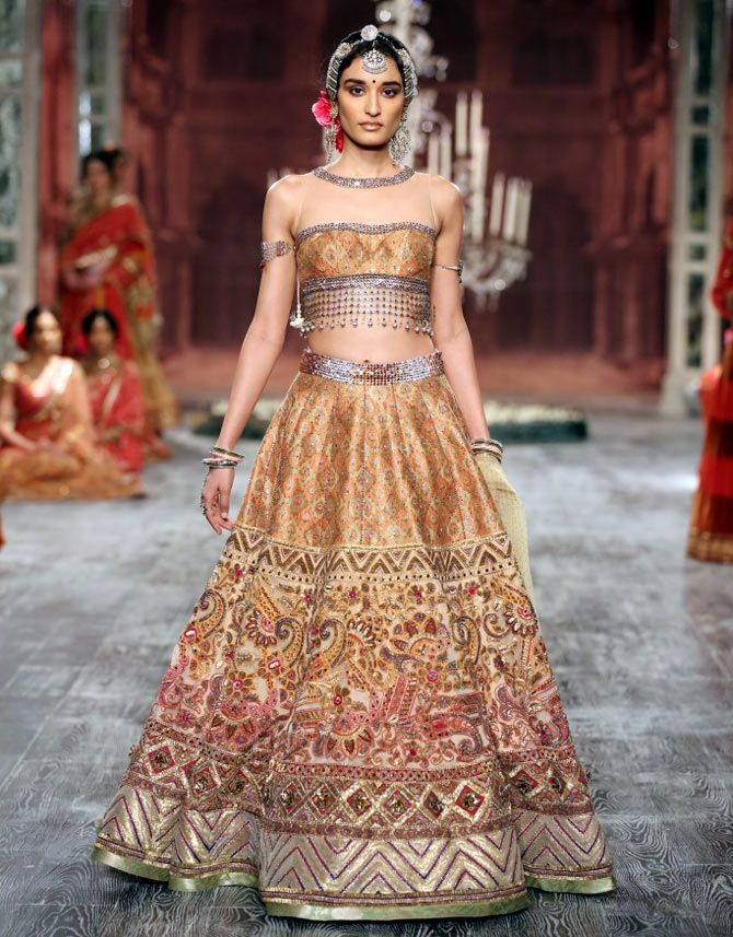 Anita Dongre (brides on the go with a touch of bohemian style.) and Tarun Tahiliani (contemporary diva with inspirations drawn from Indian courtesans.) 2016 collection