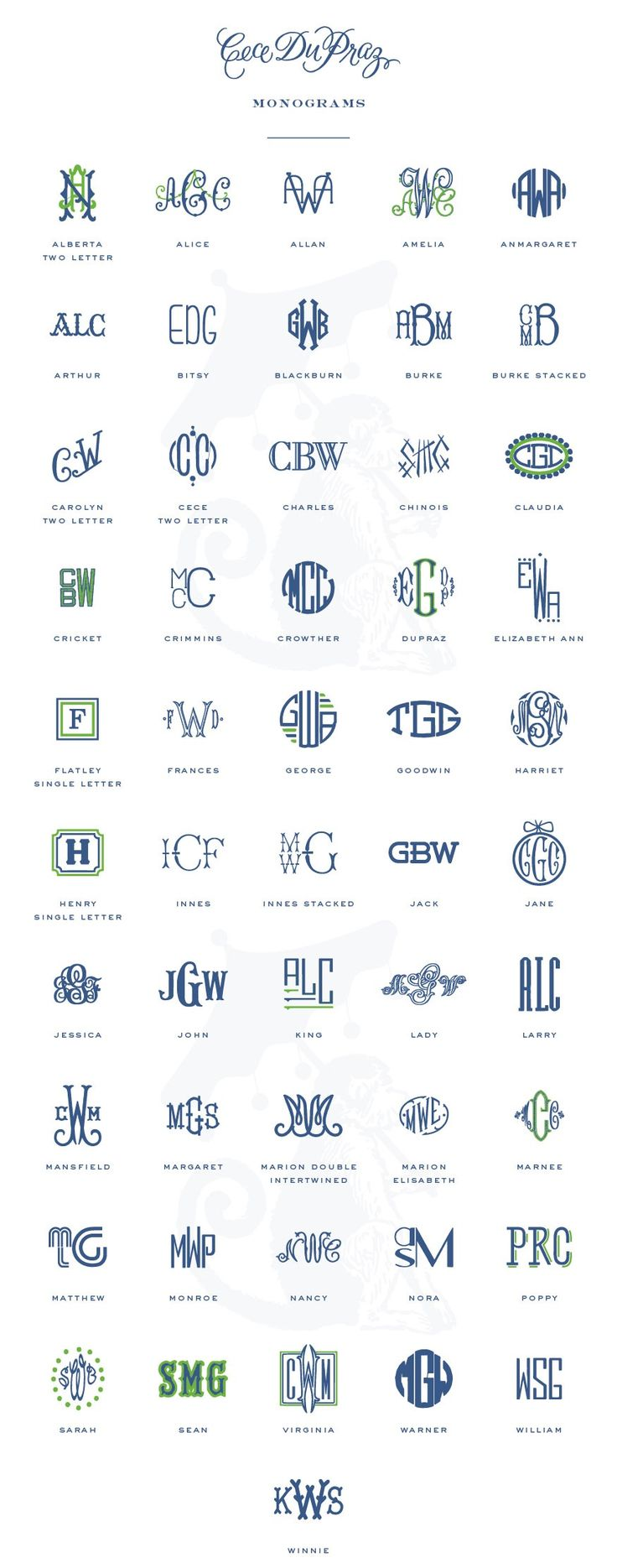 Our 2015 collection of monograms. http://cecedupraz.com/pages/monograms#monograms