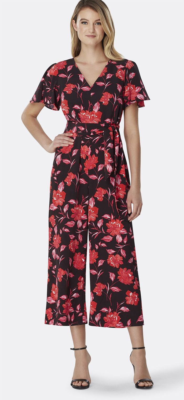 f4d9138be4ce9 Floral Blooms Jumpsuit for a Spring Wedding Guest outfit idea, or ideas for  what to wear for the Kentucky Derby. Rich, … | Kentucky Derby Dress Ideas  ...